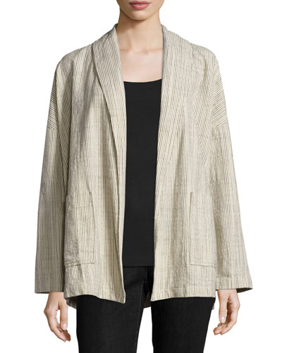 Oversized Cotton Jacket W/Stripes, Natural
