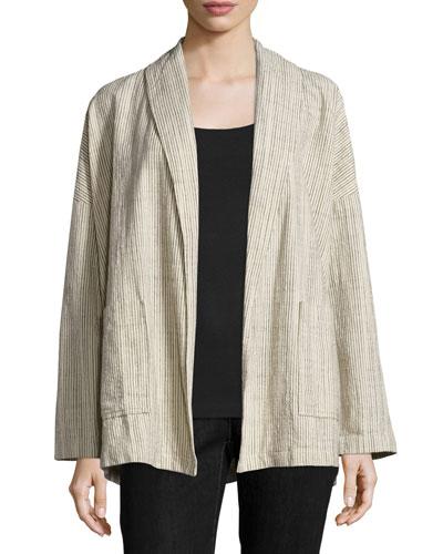 Oversized Cotton Jacket W/Stripes, Natural