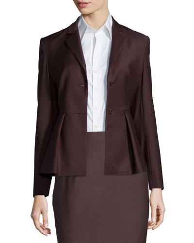 Braneve Wool-Blend Peplum Jacket, Garnet