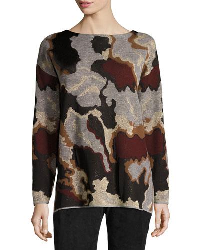 Metallic Camo Jacquard Wool Sweater, Light Nickel Multi
