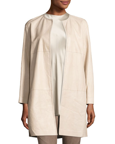 Nancy Long Open-Front Lambskin Leather Jacket, Taupe