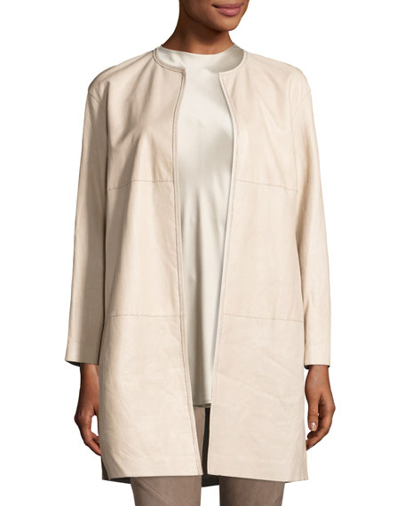Lafayette 148 New York Nancy Long Open-Front Lambskin