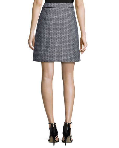 Chaumont Printed Zip-Pocket A-Line Skirt, Gemini