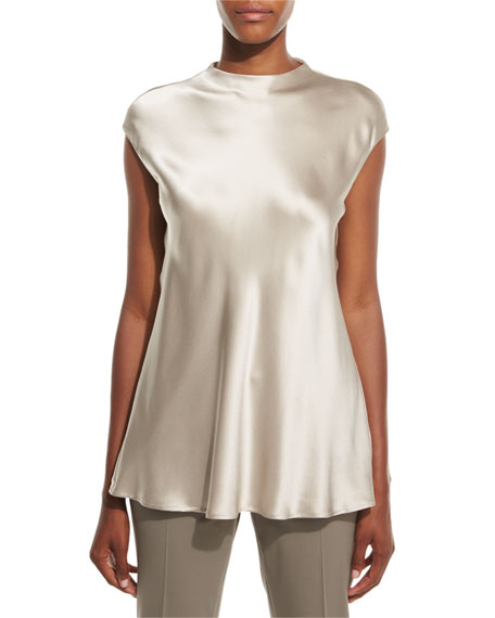 Lafayette 148 New York Gene Satin Cap-Sleeve Blouse,
