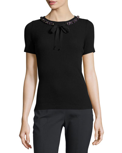 Pelham Embellished Ribbed Tee, Black