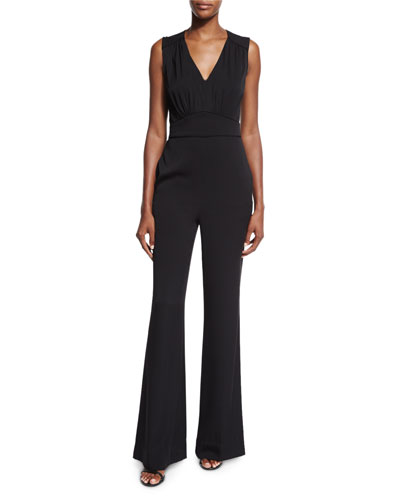 Viona Plunging V-Neck Jumpsuit, Black