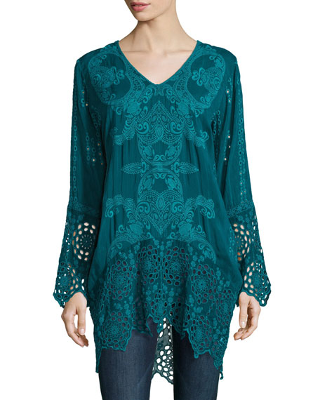 Johnny Was Lona Long Embroidered Tunic, Plus Size