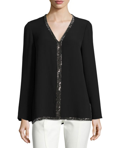 Mallet Long-Sleeve Embellished Silk Tunic, Black