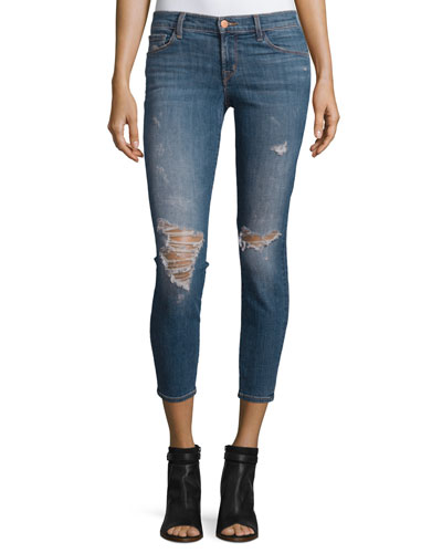 Mischie Low-Rise Distressed Cropped Jeans, Blue