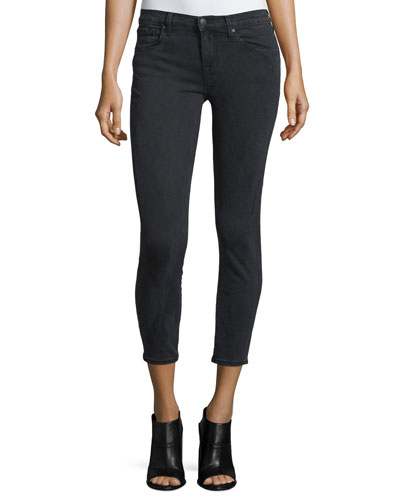 Provocative Mid-Rise Cropped Jeans, Black