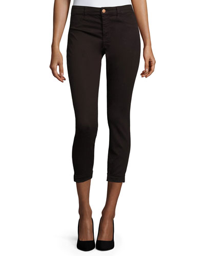Anja Skinny Rolled-Cuff Cropped Jeans, Snitter