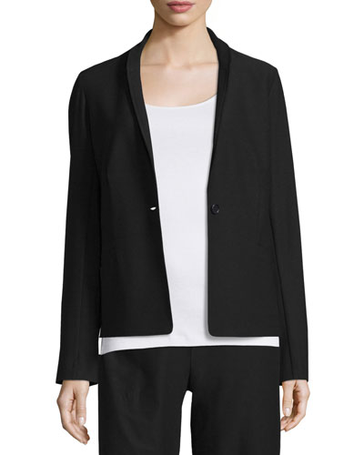 Washable Stretch Crepe One-Button Blazer