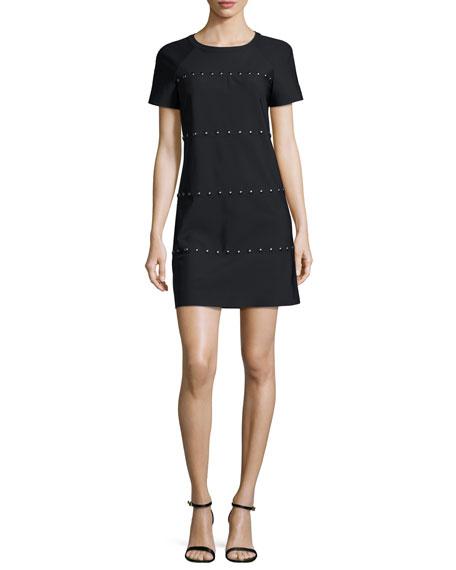 Tory Burch Waterbury Short-Sleeve Studded Shift Dress, Black