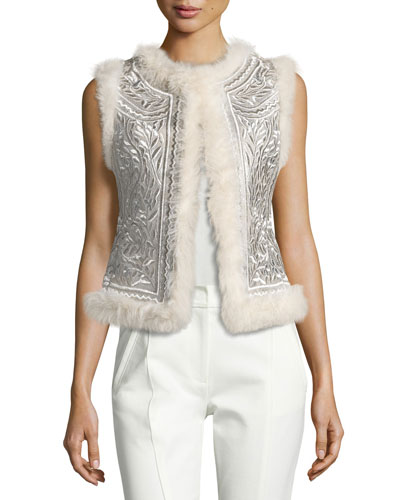 Metallic Embroidered Shearling Vest, Ivory
