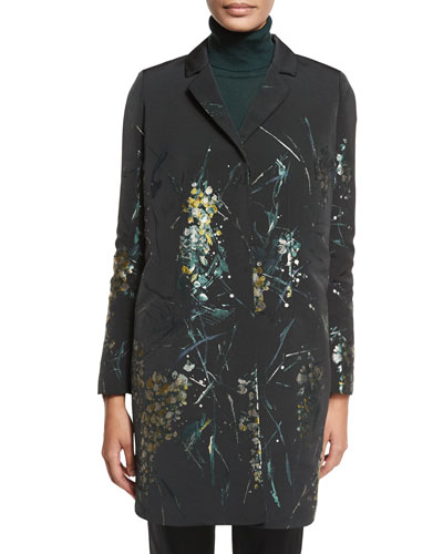 Genever Painterly Floral Topper Jacket, Black Multi