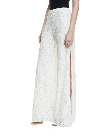 Rina Lace Side-Slit Wide-Leg Pants