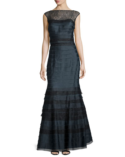 Sleeveless Lace-Trim Tiered Taffeta Gown, Navy/Black