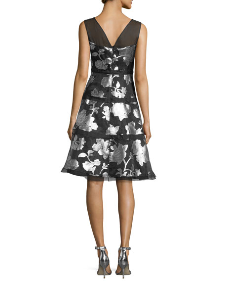 Sleeveless Tiered Metallic Floral Cocktail Dress, Black