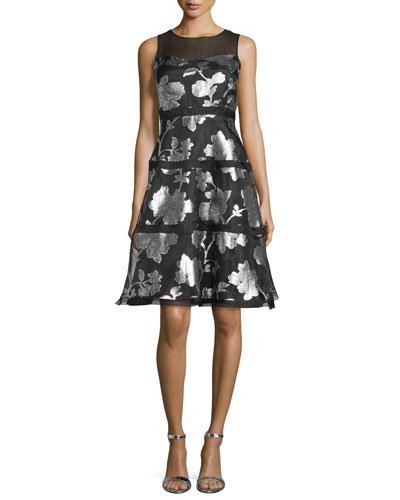 Sleeveless Tiered Metallic Floral Cocktail Dress, Black