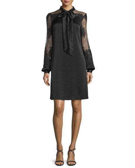 Tie-Front Satin Cocktail Dress, Black