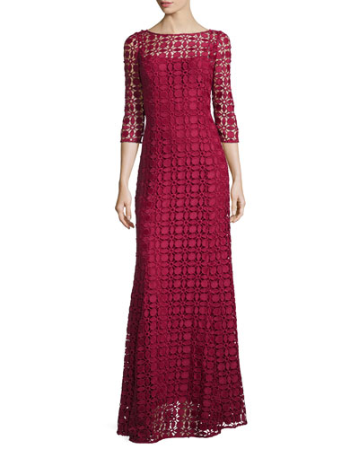 3/4-Sleeve Floral Lace Gown, Flame