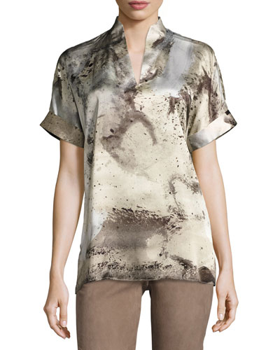 Josie Short-Sleeve Abstract-Print Silk Blouse, Ecru Multi
