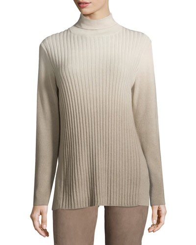 Ombre Ribbed Turtleneck, Ecru Multi