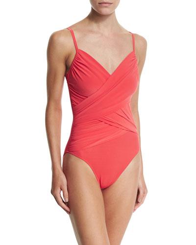 Harper Wrap-Front One-Piece Swimsuit, Guava