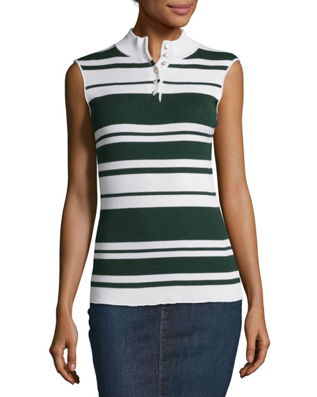 FRAME Sleeveless Rib Striped Mock-Neck Sweater, Spruce/Blanc