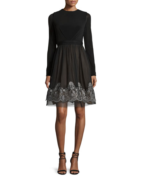 Catherine Deane Long-Sleeve Jersey & Silk Fit-and-Flare Dress,