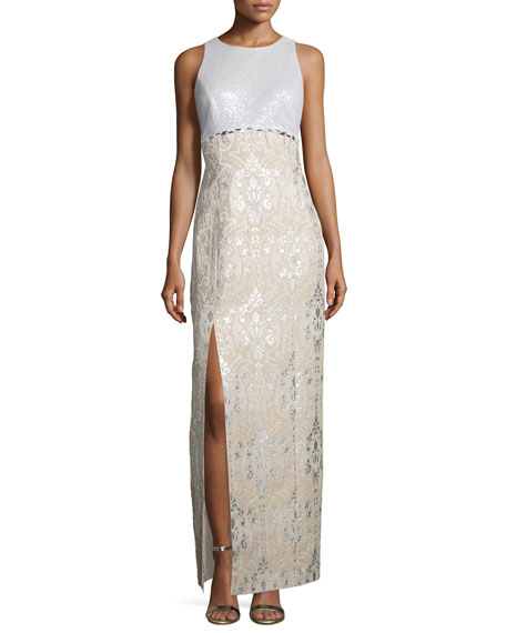 Kay Unger New York Sequined-Bodice Sleeveless Gown, Multi