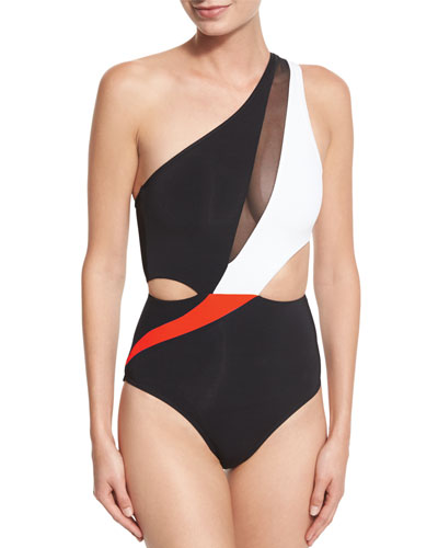 Electrify Colorblock & Mesh One-Shoulder Swimsuit, Black/Flame