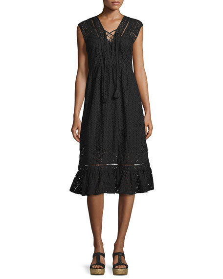 JETS by Jessika Allen Embroidered Eyelet Lace-Up Midi