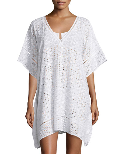 Eyelet Lace Caftan Coverup, White