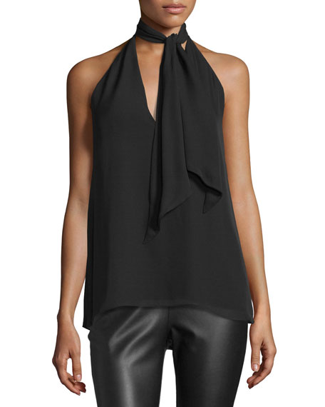 Sleeveless Silk Tie-Front Top, Black