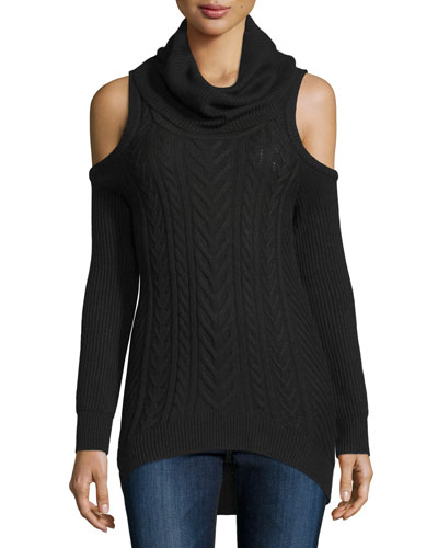 Cold-Shoulder Turtleneck Pullover Sweater, Black