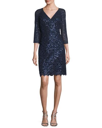 Sequin Lace V-Neck Sheath Dress, Navy