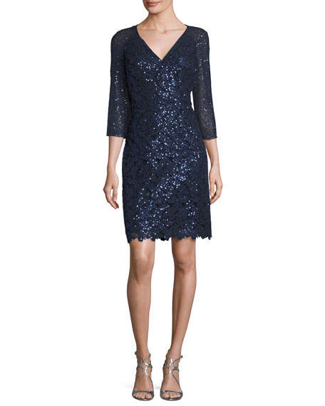 Kay Unger New York Sequin Lace V-Neck Sheath