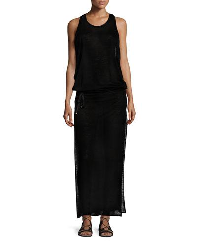 Island Honeycomb Mesh Maxi Dress, Black