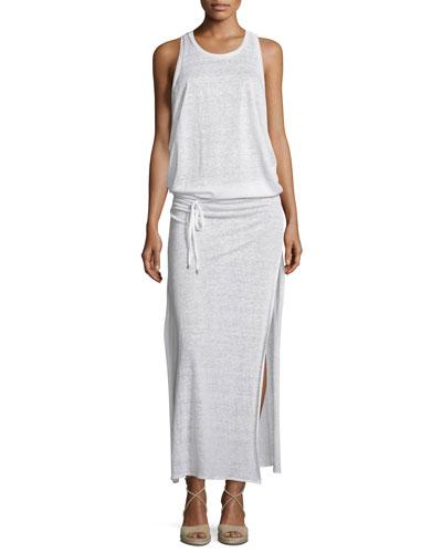 Island Honeycomb Mesh Maxi Dress, White