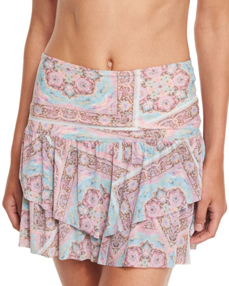Ale by Alessandra Prairie Paisley-Print Tiered Coverup Skirt