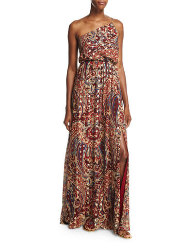 Silk One-Shoulder Paisley Column Gown, Kennedy