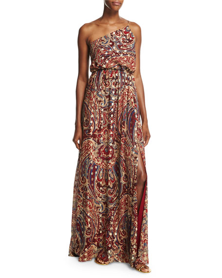 Haute Hippie Silk One-Shoulder Paisley Column Gown, Kennedy