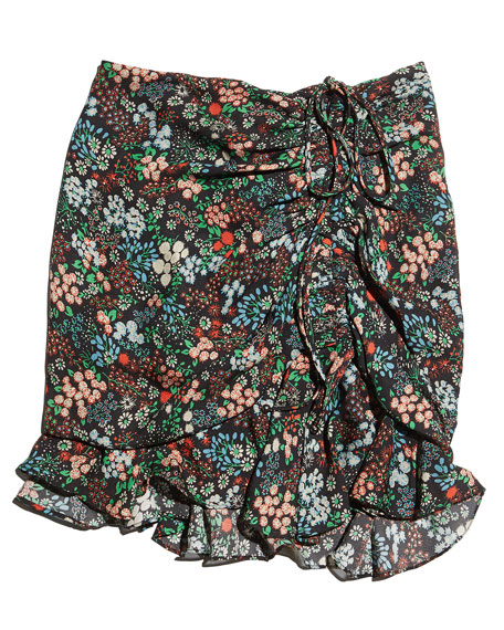 Violet Floral Silk Ruffle Mini Skirt, Black/Multicolor
