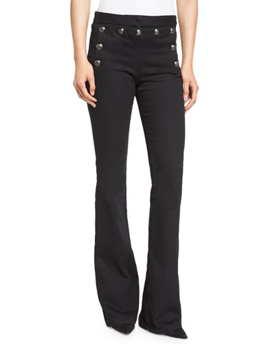 Tide Line Boot-Cut Sailor Pants, Black