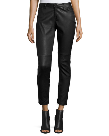 Elie Tahari Trista Slim-Leg Leather Pants w/ Zip