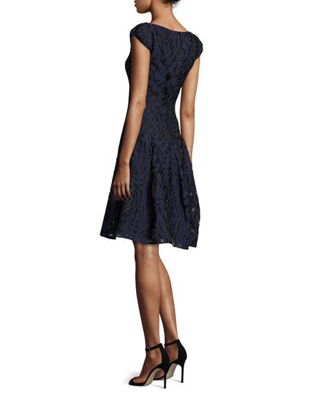Longley Cap-Sleeve Cocktail Dress, Navy