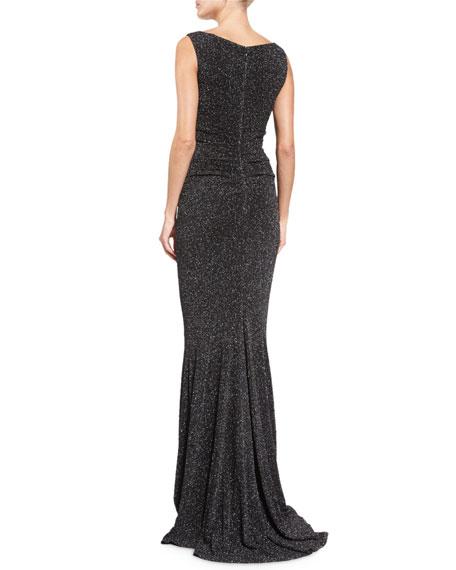 Boss Glitter Cloqué Sleeveless Gown, Black
