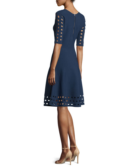 Milly Half Sleeve Diamond Pointelle Fit Amp Flare Dress Navy