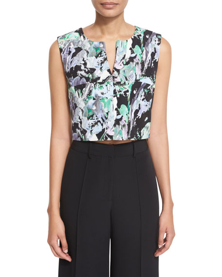 Painterly Floral-Print Cropped V-Neck Shell, Black Multi